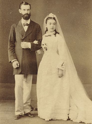 CDV Victorian Wedding Couple Calcutta India Identified Emma Percy Mr Linsell