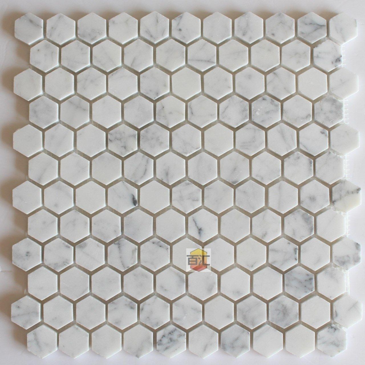 Carreaux De Marbre Blanc De Carrare Mosaique Hexagonale Brillant