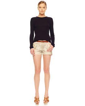 MICHAEL Michael Kors MICHAEL Michael Kors  Ribbed Crewneck Sweater & Stretch Twill Shorts