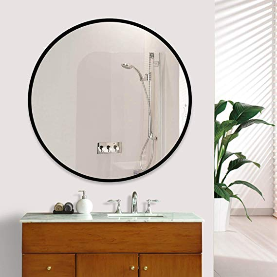 Amazonsmile Elevens Wall Round Mirror Popular 32 Inch Round Wall Mounted Decorative Mirror Metal Frame Best For Mirror Decor Mirror Round Mirror Bathroom