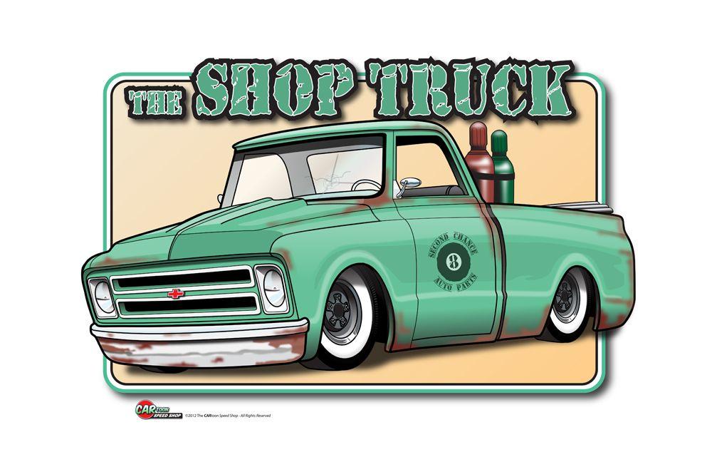 Hot Rod Art Truck Art Car Cartoon C10 Chevy Truck