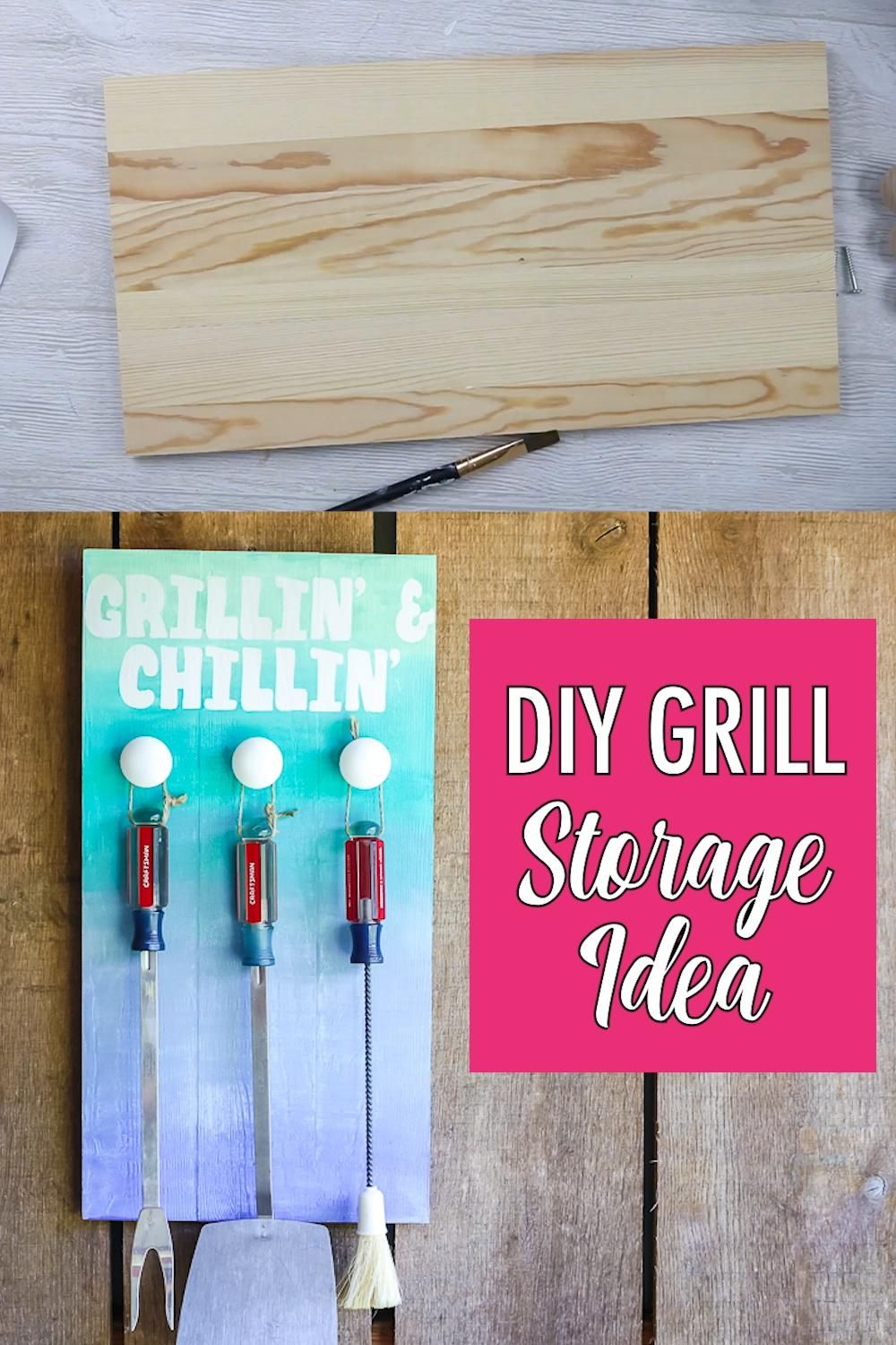 Diy Grill Storage With An Ombre Paint Technique Video Video In 2020 Diy Grill Ombre Paint Cricut Projects Vinyl