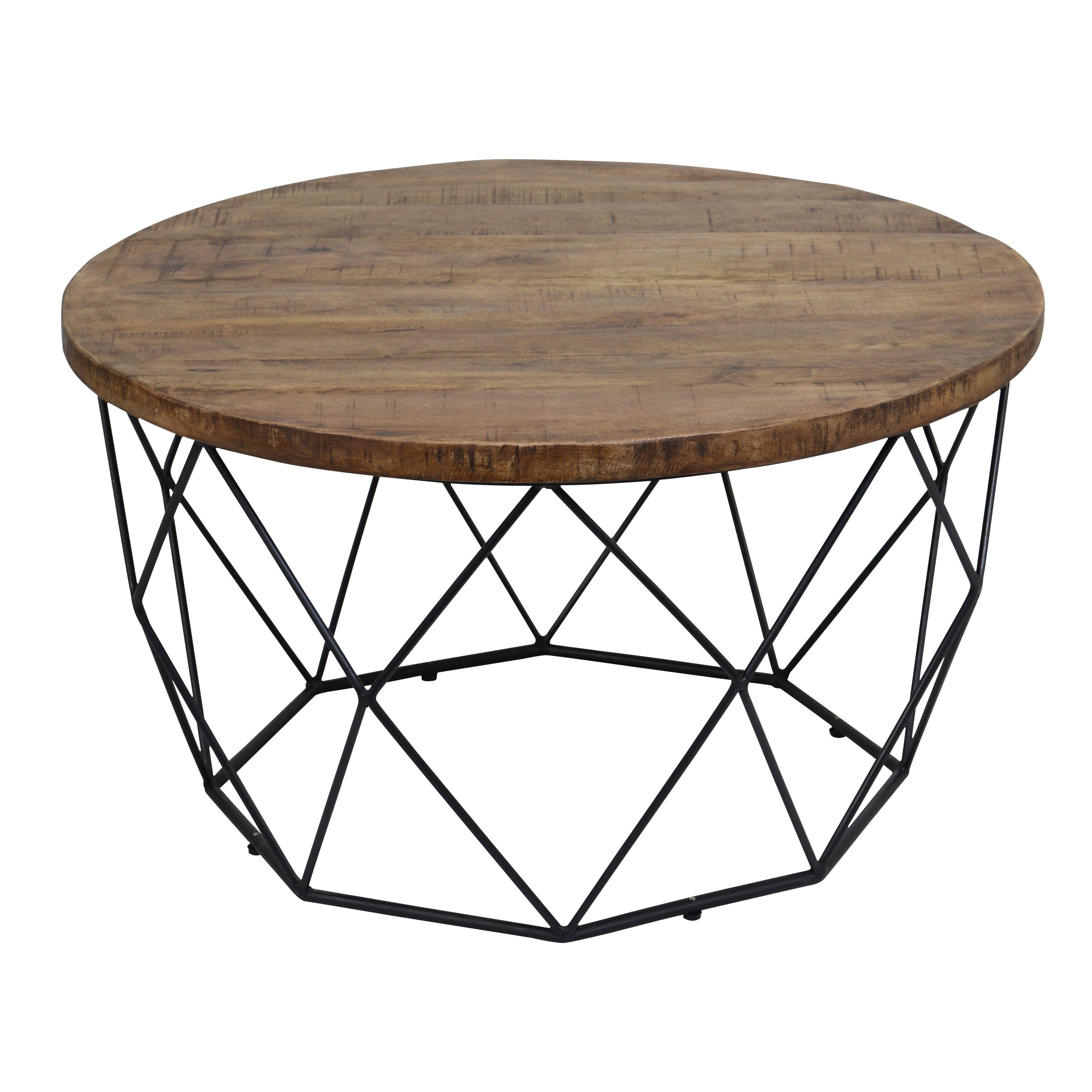 Chester Wood And Iron Geometric Round Coffee Table By Kosas Home Round Wooden Coffee Table Coffee Table Wood Round Coffee Table