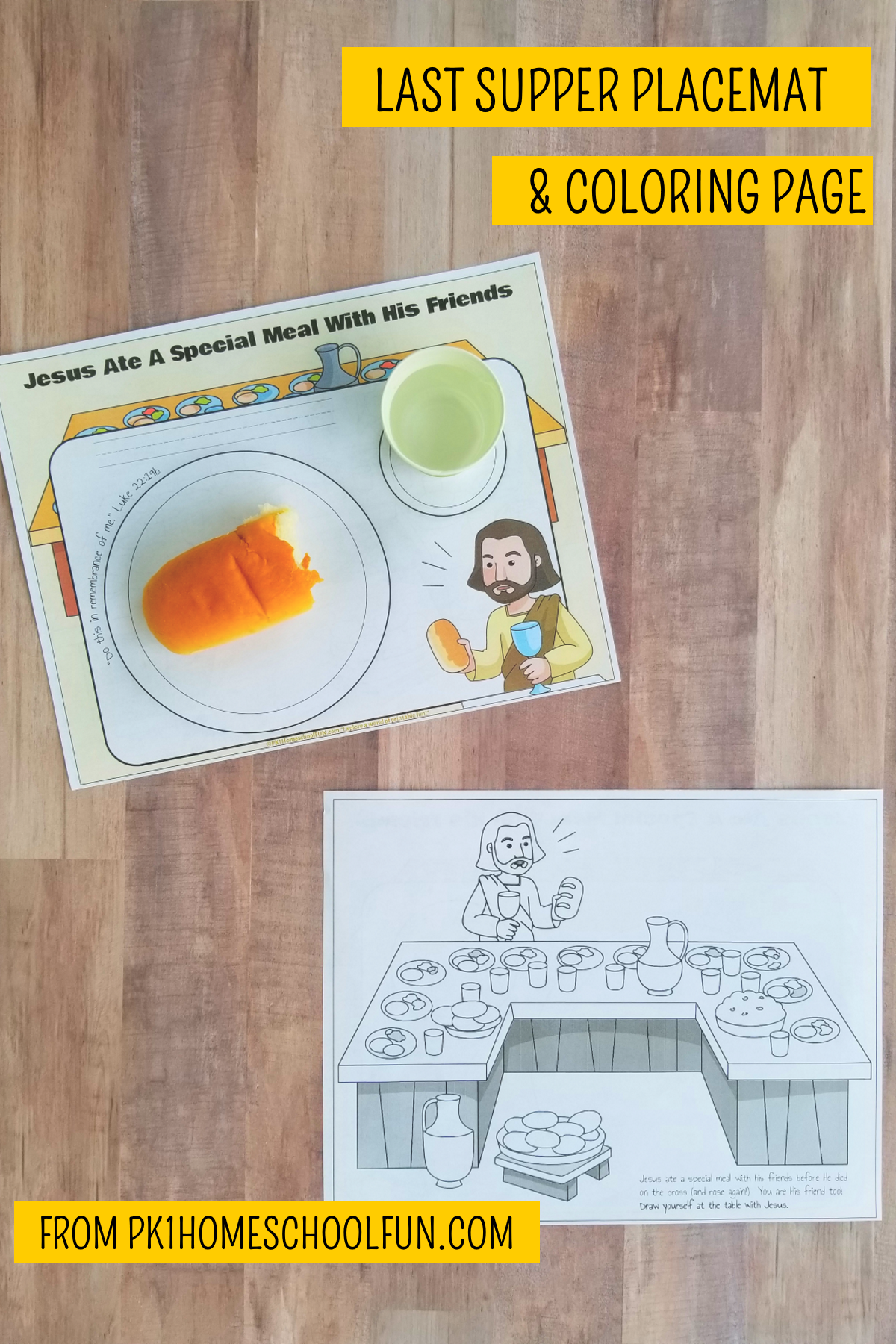 Last Supper Placemats Amp Coloring Page