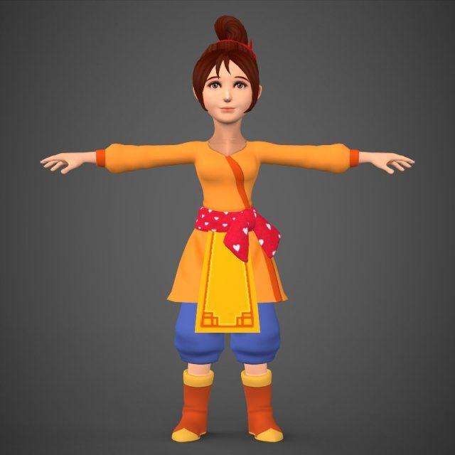 Cartoon Character Girl Babli 3D Model  max  c4d  obj  3ds  fbx  lwo