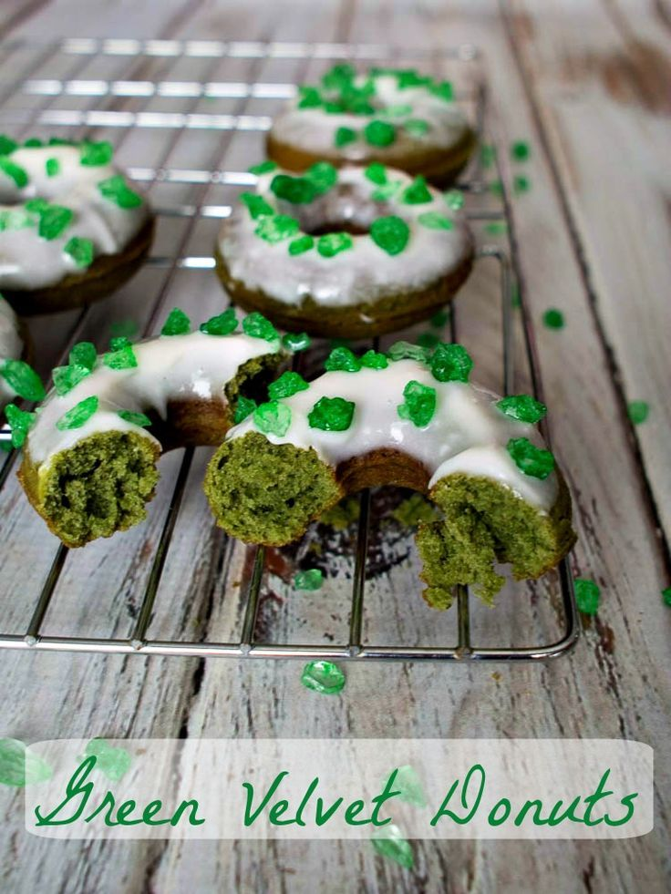 Green Velvet Donuts with Cream Cheese Frosting for St ...