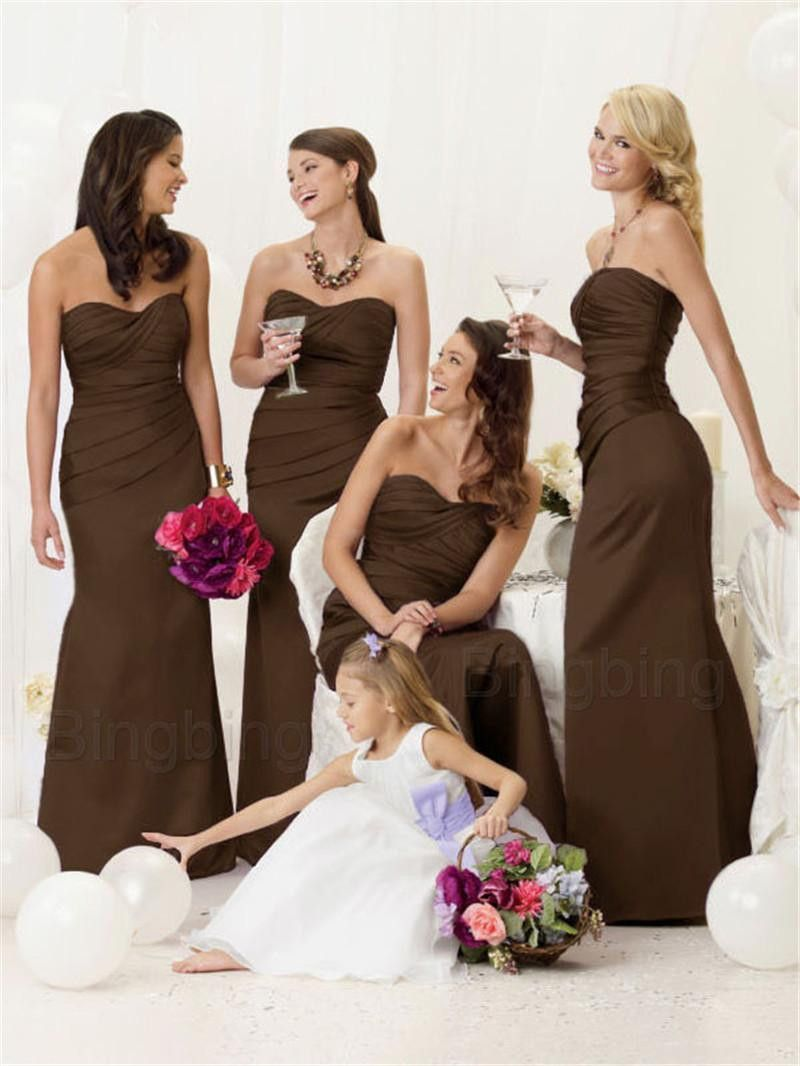 e66be2f8b88c Satin pleated Mermaid Bridesmaid Dresses at Bling Brides Bouquet - Online  bridal Store