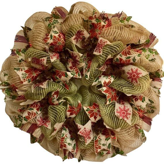 Christmas Ribbon Wreath Natural Burlap And Green Deco Mesh