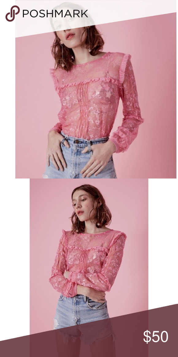f528651051f60 Stardust Ruffle Blouse Pink shimmer lace with mesh ruffles For Love And Lemons  Tops Blouses