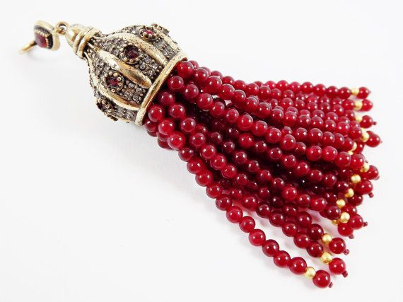 Large Long Red Jade Stone Beaded Turkish Tassel by LylaSupplies
