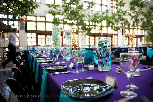 Purple And Turquoise Reception With Black And Gold Accents