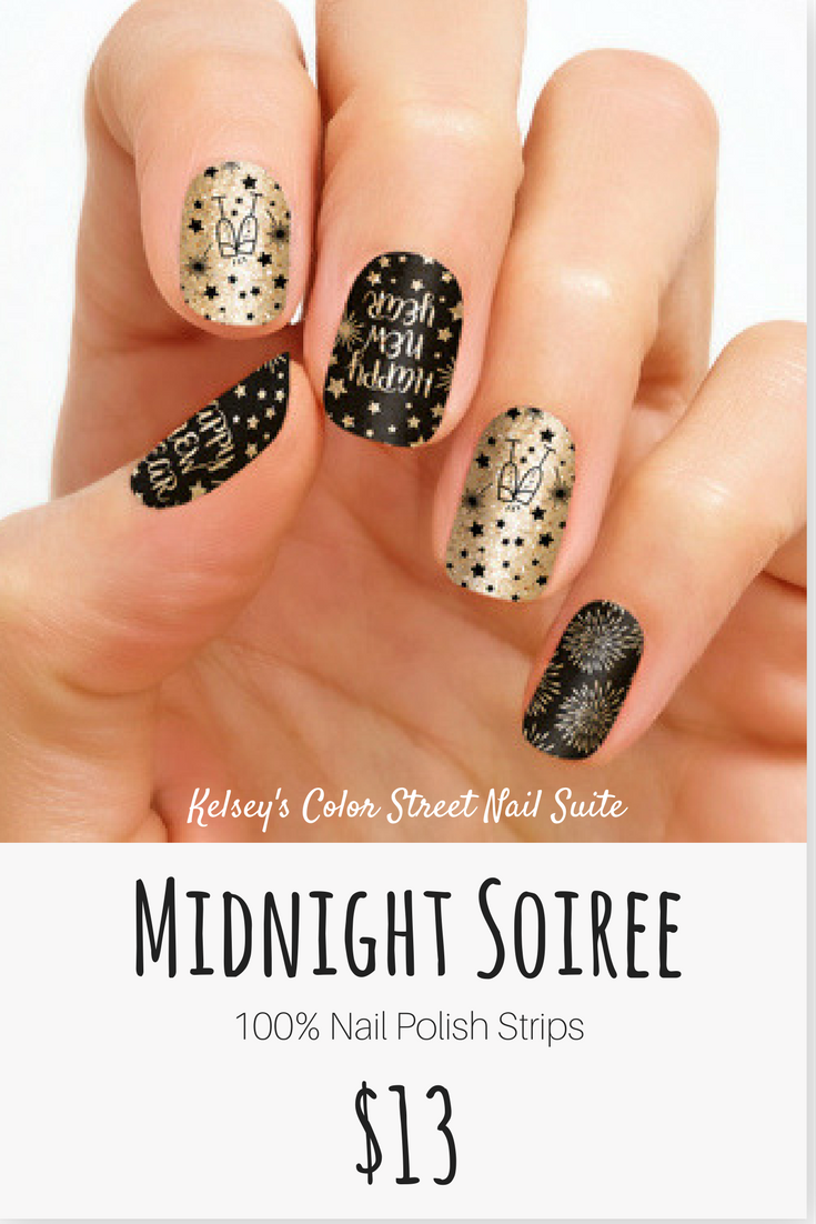 Color Street Midnight Soiree Black and gold New Years nail