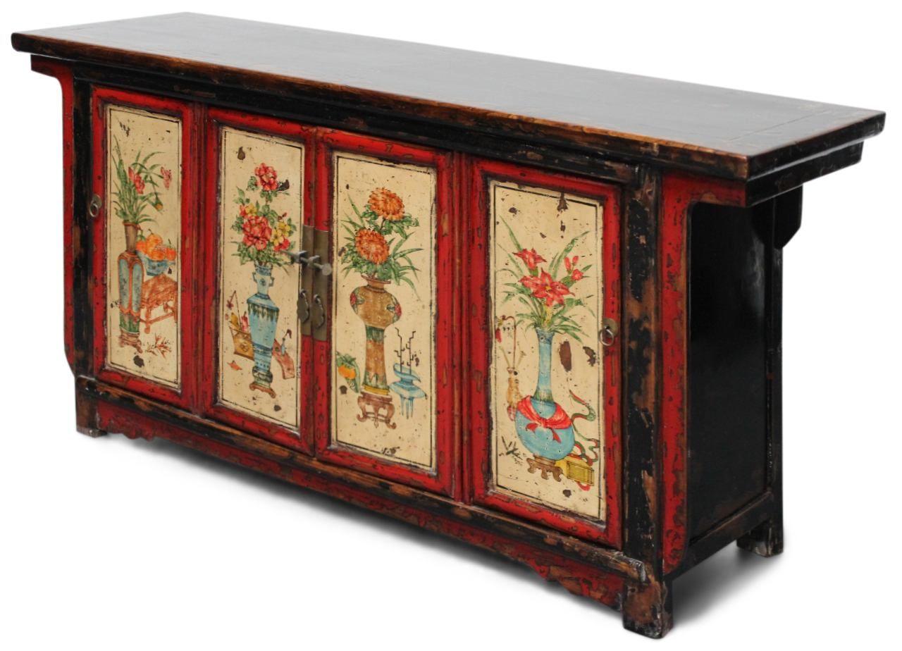 167 Cm Langes Sideboard Aus China Mit Blumenmalerei Aus Restaurationswerkstatt Unikat China Mobel Chinesische Mobel Chinesisch