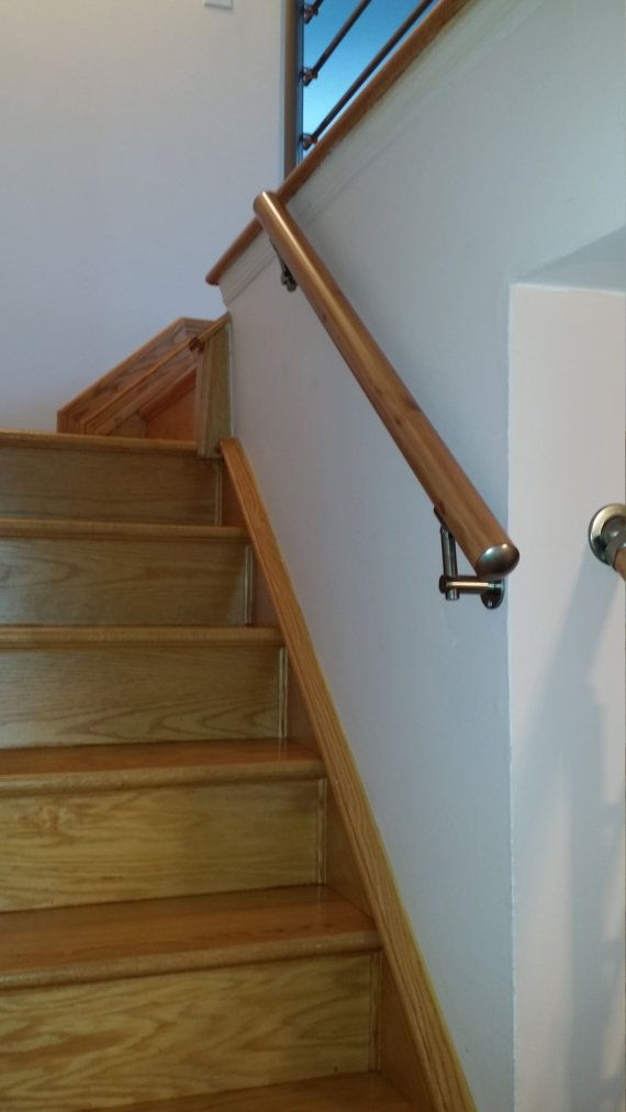 Wall Mount Modern Stair Hand Rail Staircase Railing Kit Etsy In | Modern Stair Hand Railing | Stainless Steel | Decorative | Creative Outdoor Stair | Glass | Solid Wood