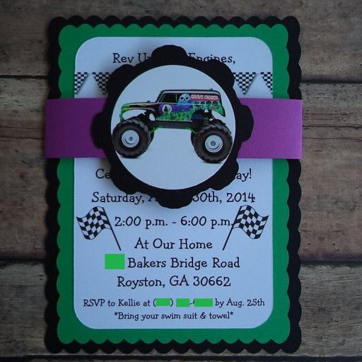Monster truck birthday invitations grave digger invitations these monster truckgrave digger birthday party invitations will really get the mud flying at your party you are purchasing 10 custom monster truck grave filmwisefo