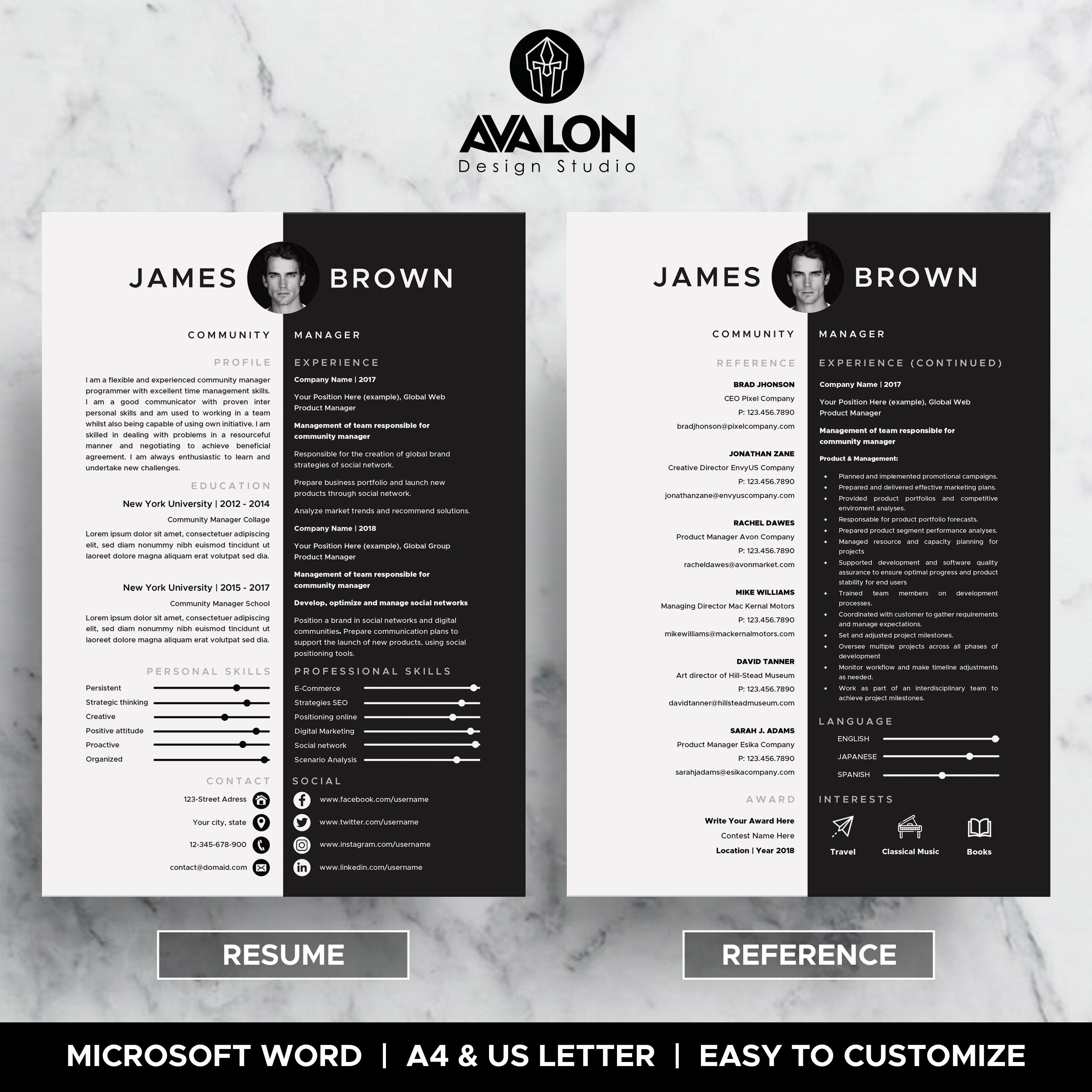 Professional Reference Resume Template For Microsoft Word 3 Pages Full Editable Instant Download Resume Template Creative Cv Template Resume References Resume reference template microsoft word
