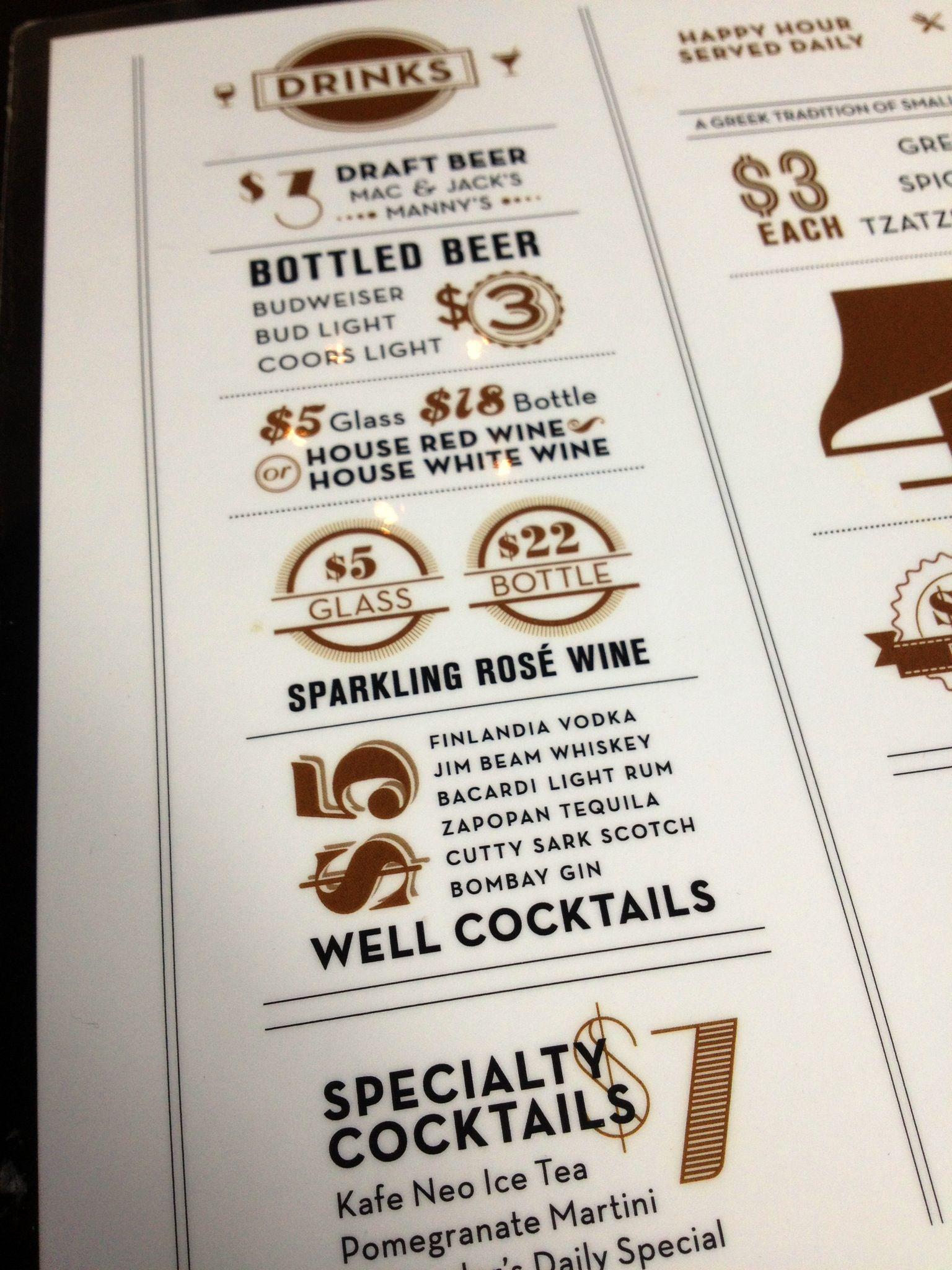 Cafe Neo happy hour menu Graphic Design