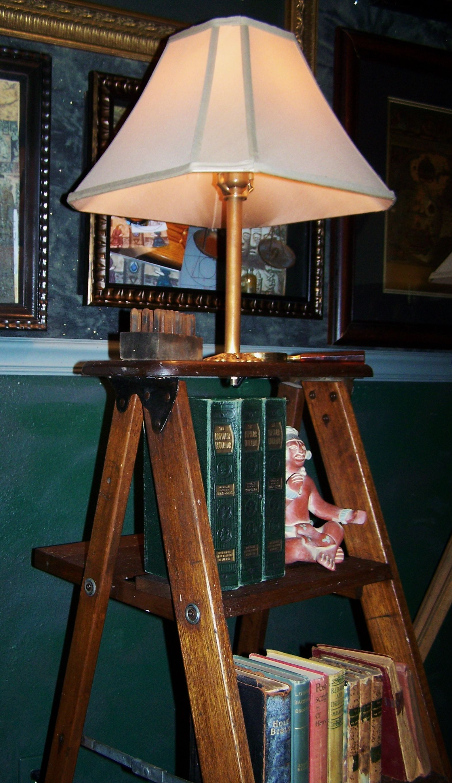Vintage ladder turned into a bookcaselamp things iuve remade