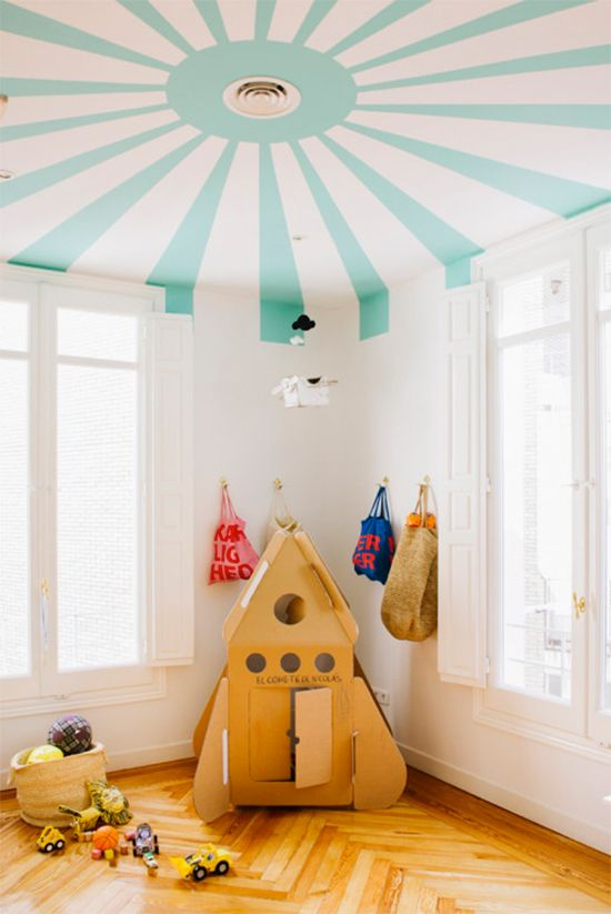 Let The Kids Play Under A Circus Tent With This Patterned Ceiling