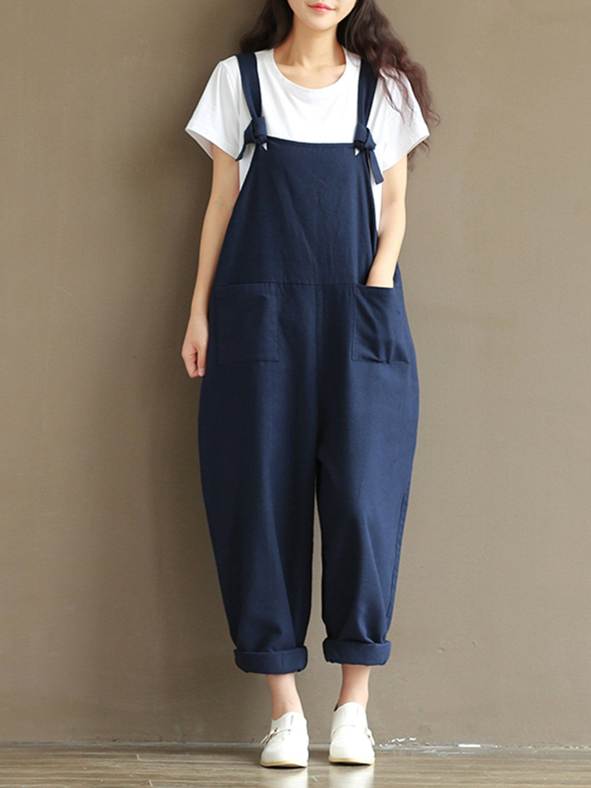 115c1bd86 Dark Blue Simple Plain Pockets Cotton Pants