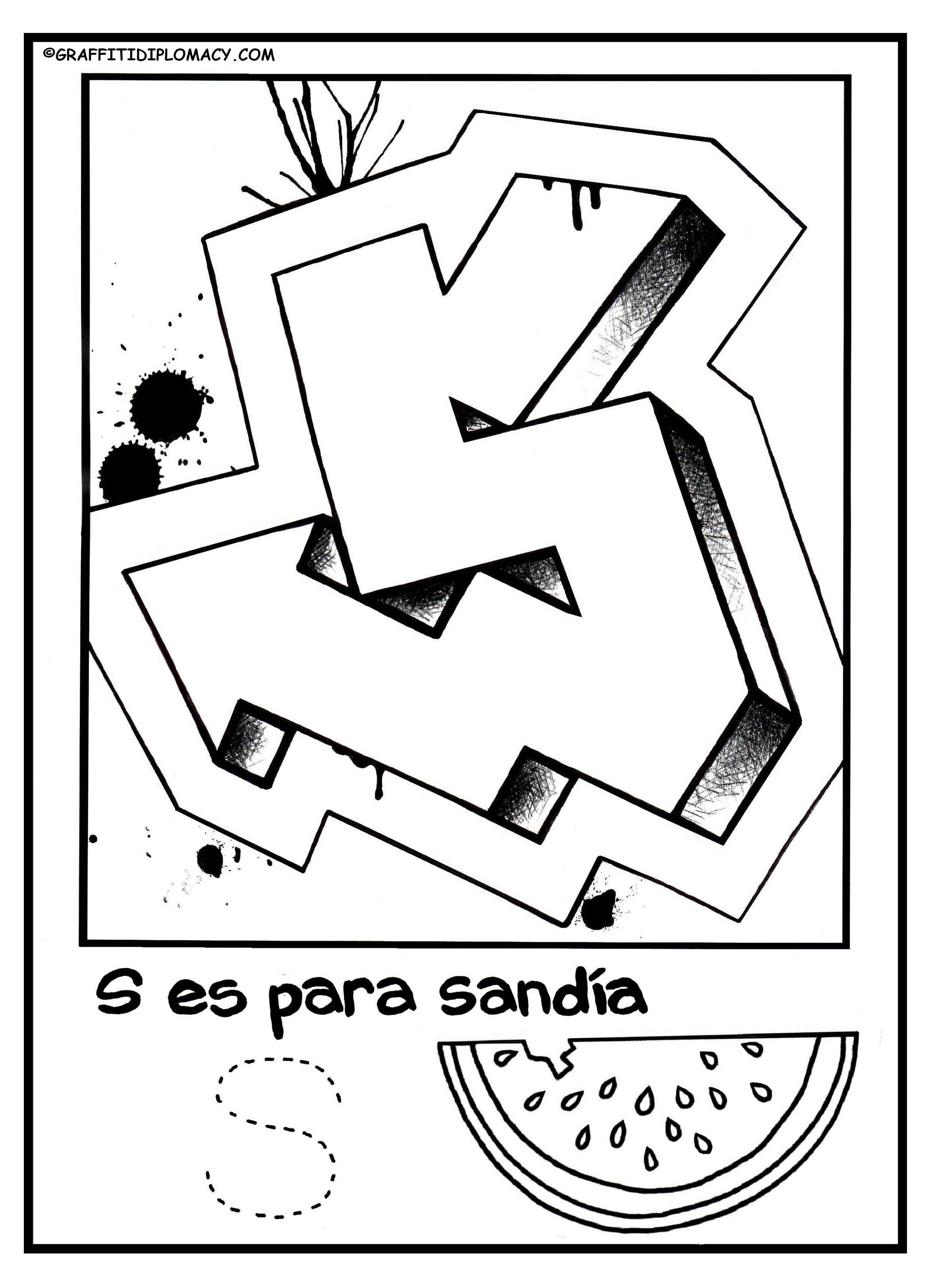 Alphabet Page S Spanish Alphabet Coloring Page Graffiti