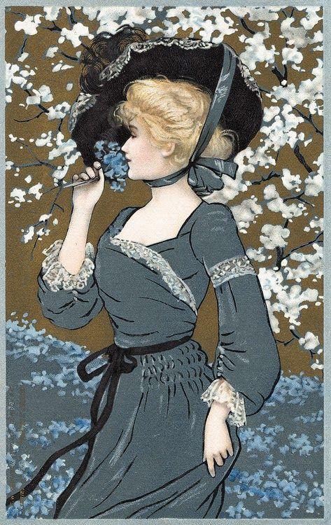VINTAGE postcard --Art Nouveau Postcard