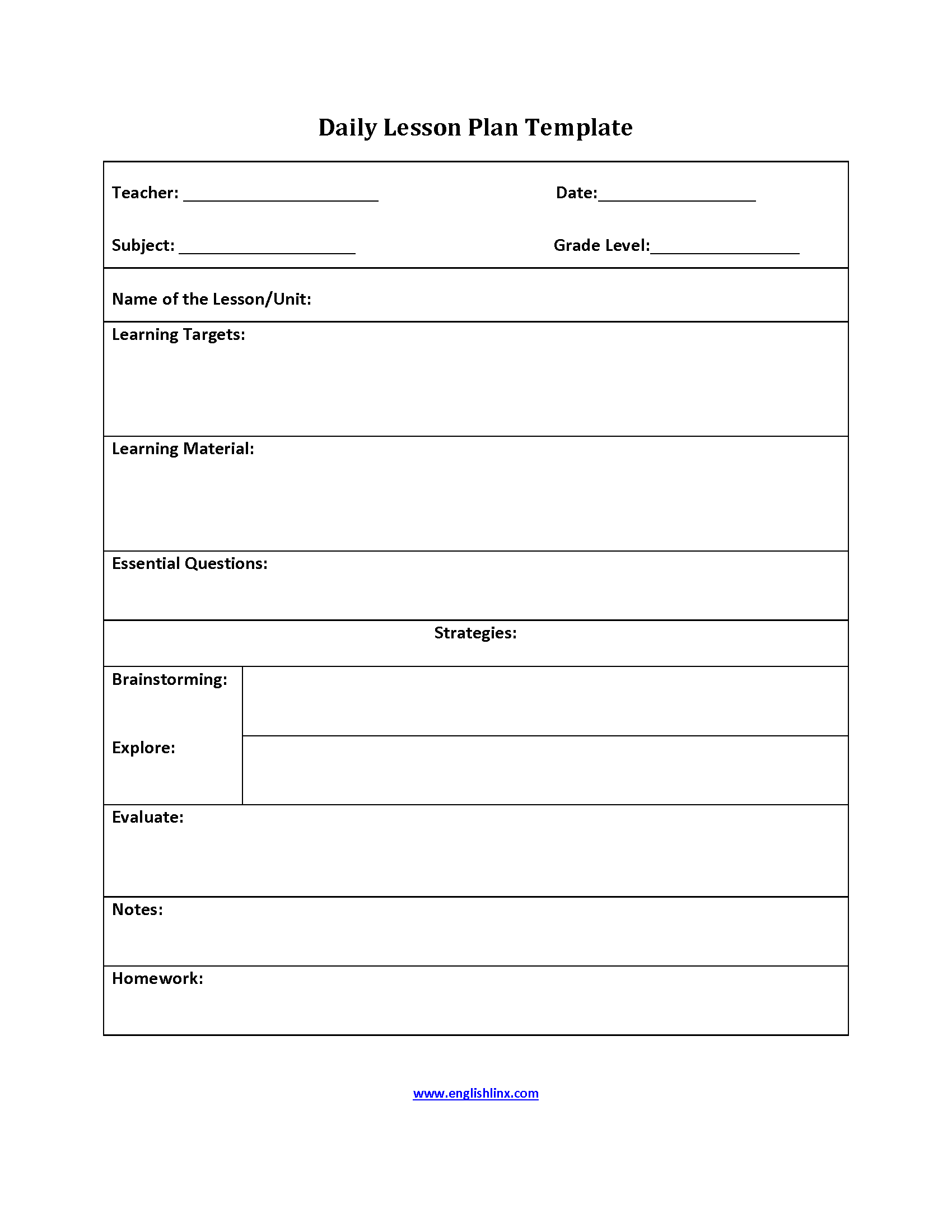 six step lesson plan template