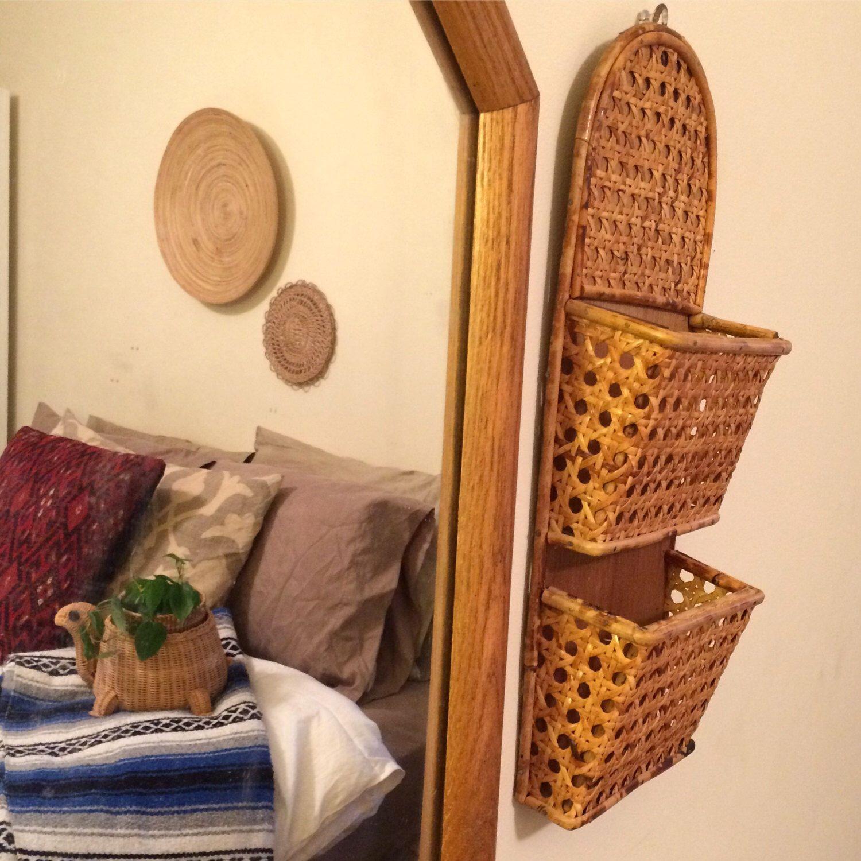 Vintage Bamboo Mail Sorter, Boho Wall Organizer, Bamboo Wall Shelf ...