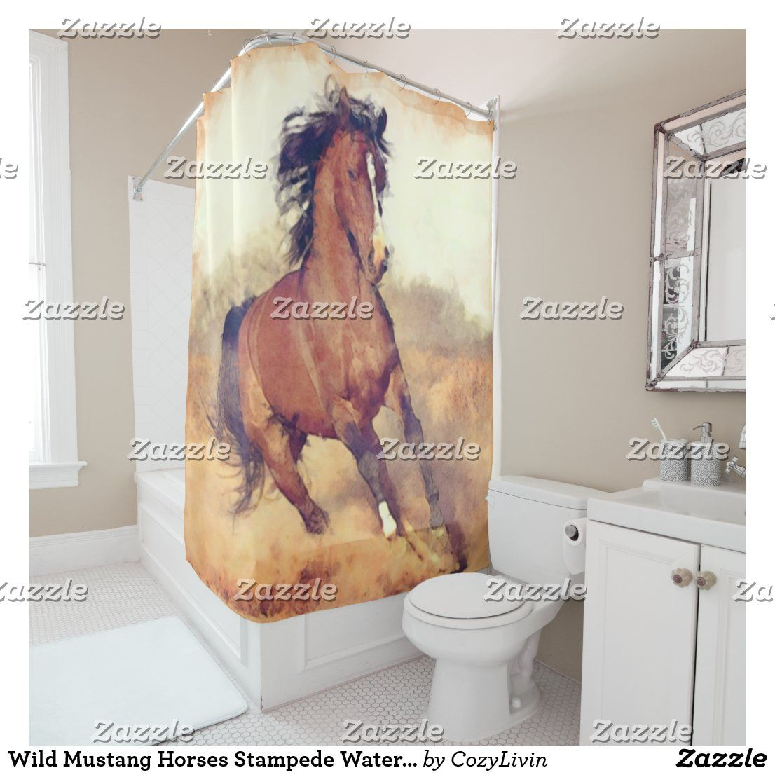 Wild Mustang Horses Stampede Watercolor Shower Curtain Zazzle