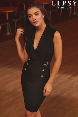7a3f56d8d7b Buy Lipsy Tuxedo Button Detail Bodycon Dress from Next South Africa ...
