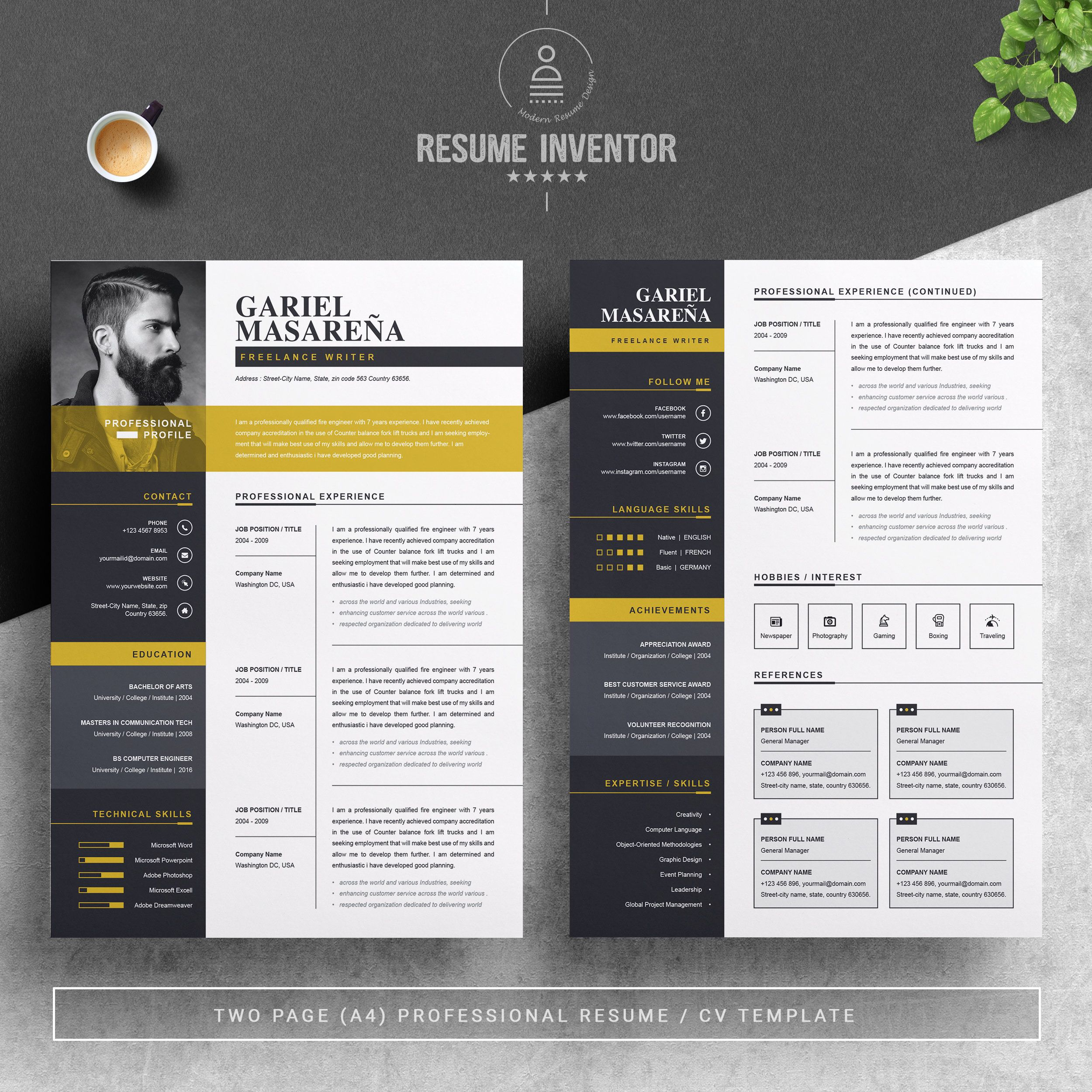 Resume Template Modern Professional Resume Template For Word Cv Resume Cover Letter A4 Size 2 Pages Pack Cover Letter Resume Template Professional Resume Design Template Resume Design