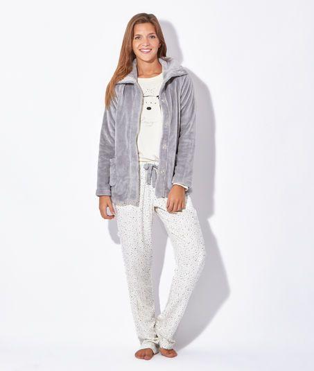 le dernier 3a3fb 4c91e Pyjama 3 pièces, veste polaire toucher peluche, haut ours ...