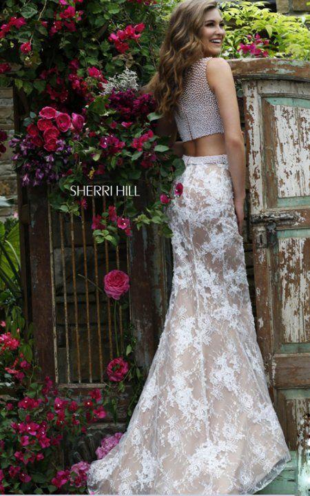 2016 Sherri Hill 11278 Sexy Beads Lace Two Piece Prom Dress