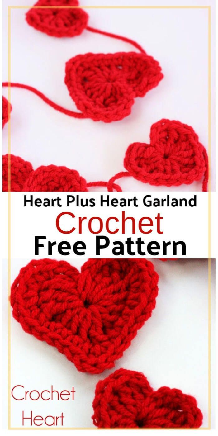 How to Crochet a Heart Plus Heart Garland - 15 Free Crochet Garland Patterns, #crochet #Free #Garland #Heart #patterns