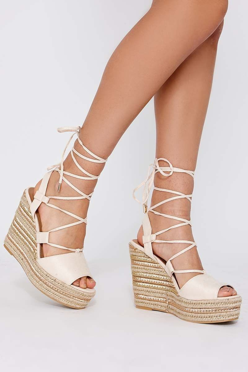 ce2f02443b0 Poni cream faux suede lace up espadrille wedges in 2019 | all ya ...