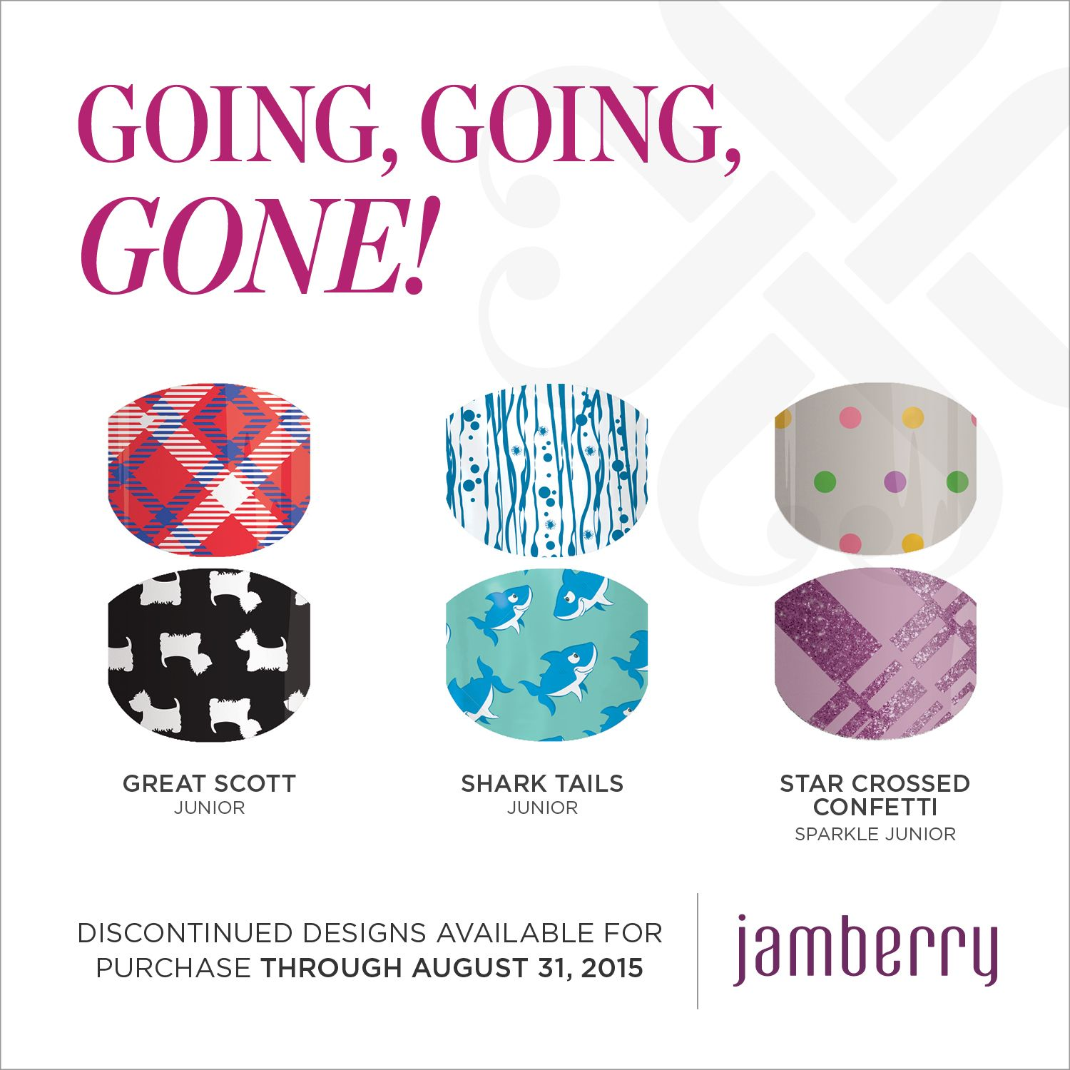 Great Scott, Shark Tails and Star Crossed will all be retiring August 31st! Get yours before their gone forever! wrappyourstyle.jamberrynails.net