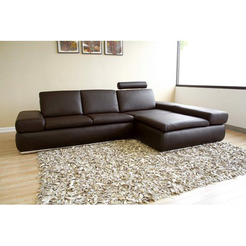 Have to have it Baxton Studio Champagne Brown Leather Sectional - Brown Couch Living Room