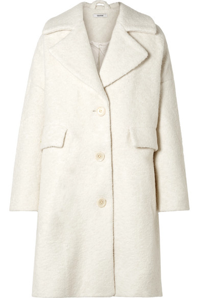 Ganni Fenn Oversized Wool Blend Boucle Coat Cream Boucle Coat Coat Sale Boucle