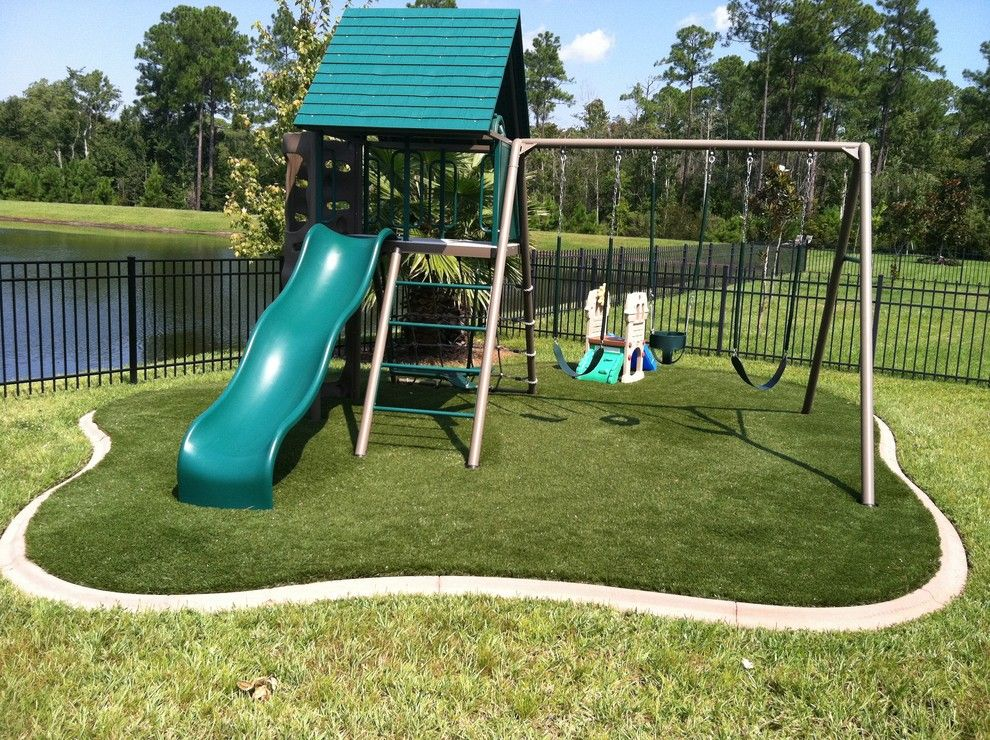 Playset Ideas Backyard really want a wood swing set this summer Backyard Playsets Kids Traditional With Artificial Concrete Curb Curbing Foam Grass Lawn Padding Playset Slide Swing