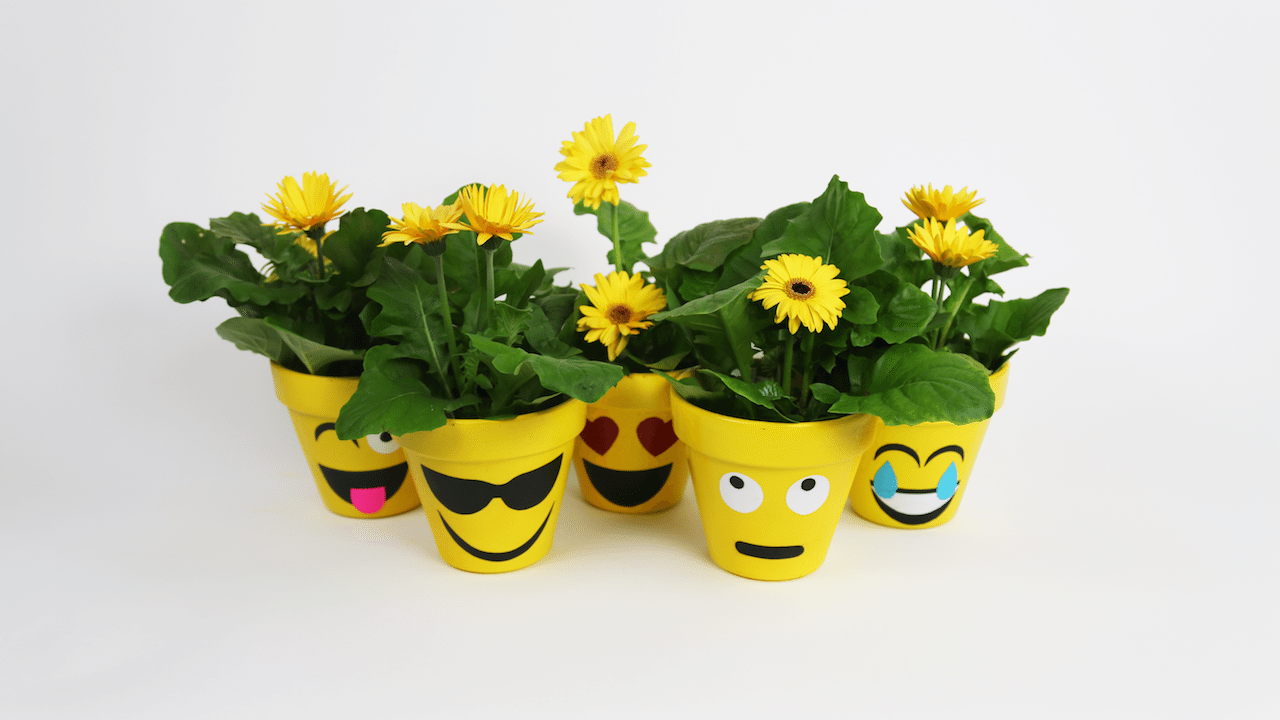 These Diy Emoji Flower Pots Are Adorable And So Easy To Make Emoji Flower Ceramic Flower Pots Flower Pots