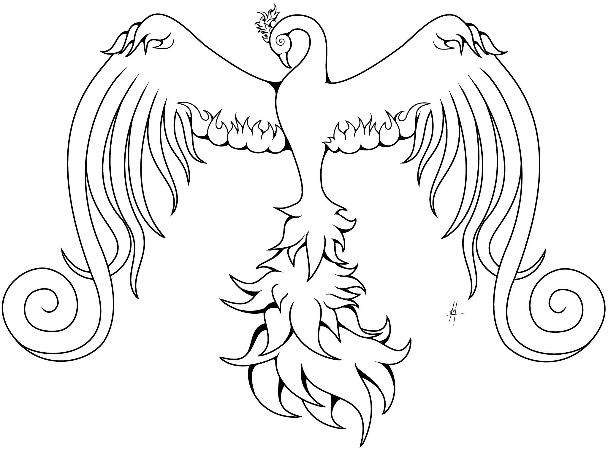 Swirly Phoenix Bird Coloring Pages Pictures Of Phoenix Coloring Pages