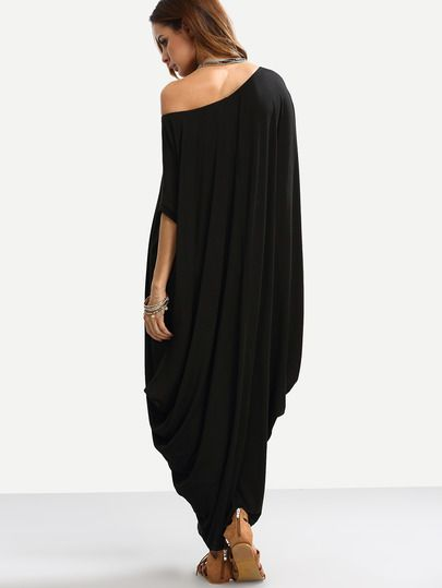 Black One Shoulder Dolman Sleeve Maxi Dress Sheinsheinside