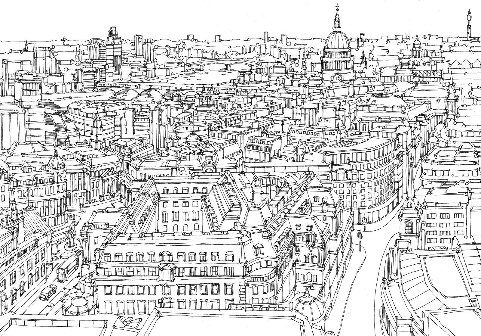 London2 Jpg 1600 1116 City Drawing London Map Illustrated Map