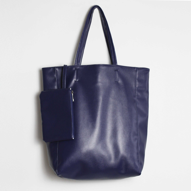Eco Vegan Leather Lambskin Tote Bag Floppy Shopping Bag 16.7