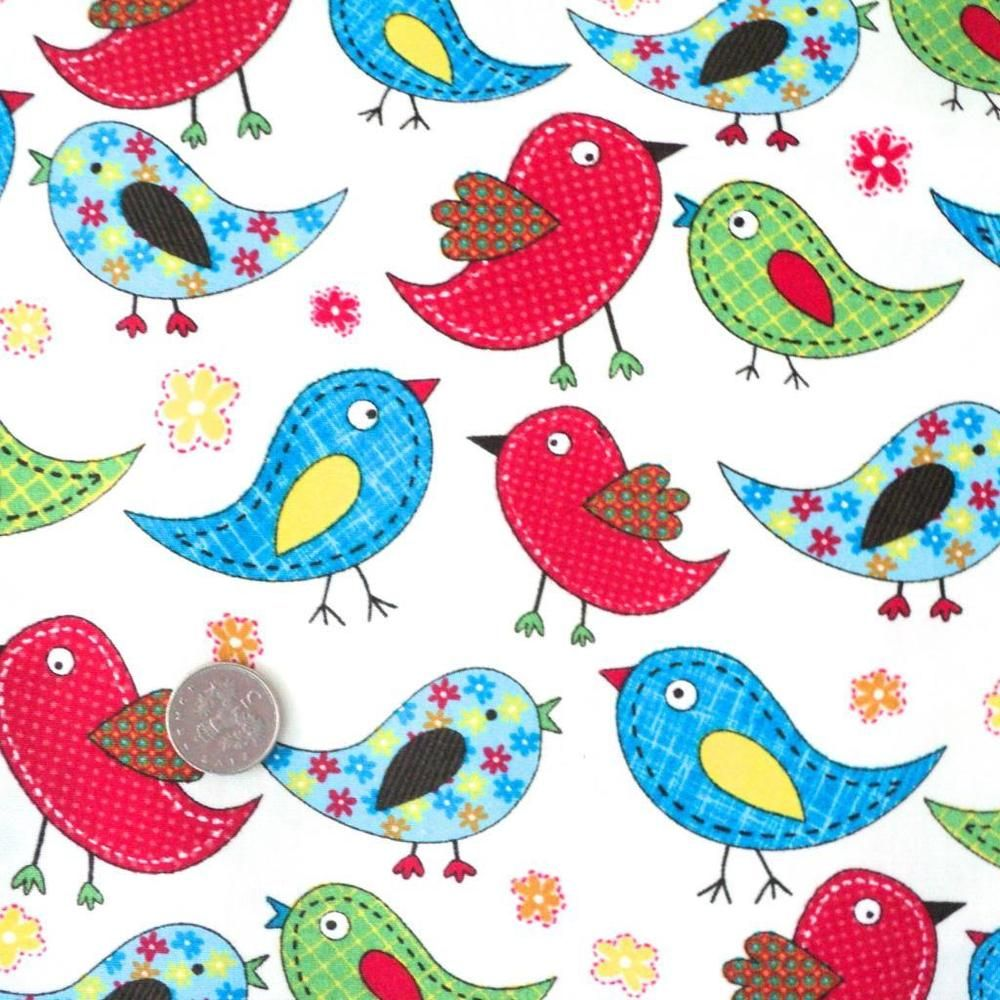 TWEET - RAINBOW BIRDS - COTTON FABRIC kids children nursery patchwork floral | eBay