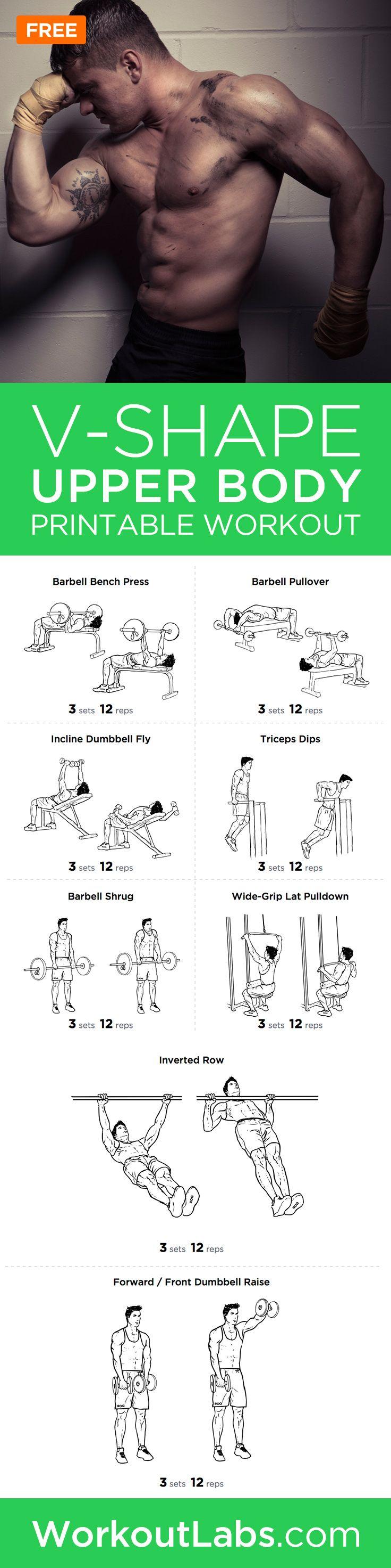 V-Shape Upper Body Printable Workout Plan for Chest