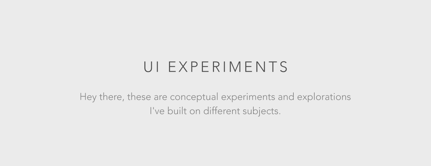 UI Experiments on Behance