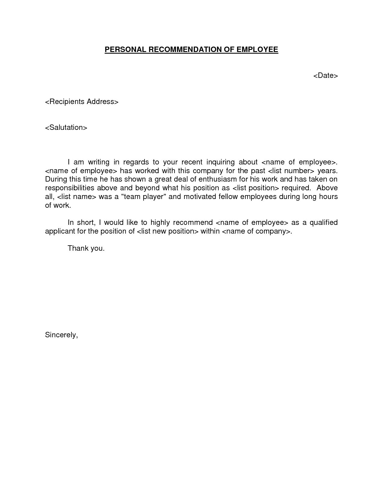 template reference letter for employee - Google Search  Work