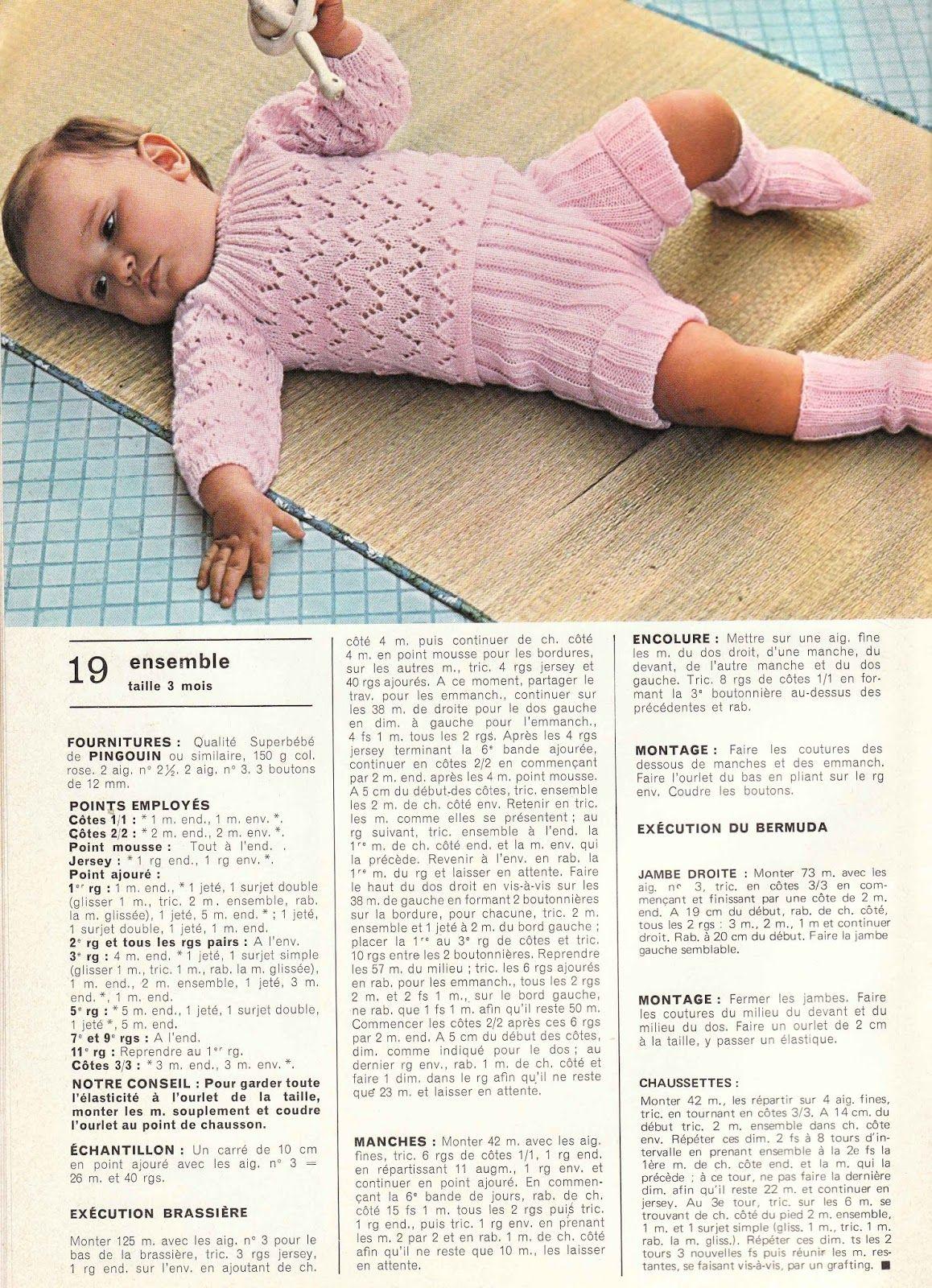 Layette bébé années 70: Tout le tricot N°96 free pattern | Layette ...