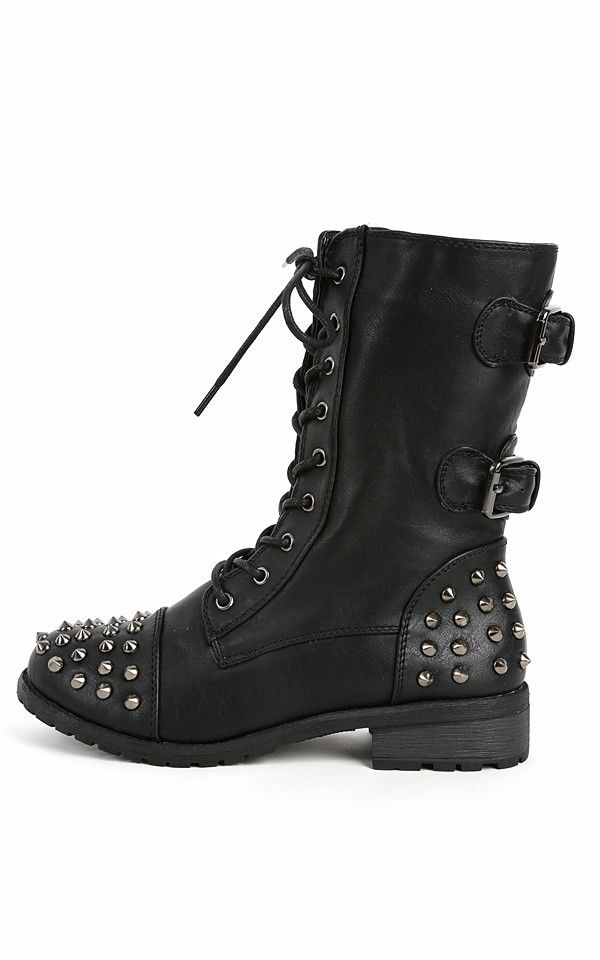 Mango-66 Buckle Spiked Combat Boots BLACK   Make Me Studs & Spikes ...